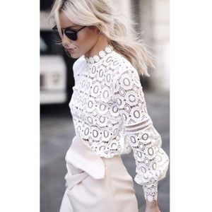 Tops - VENICE White Crochet LS Blouse